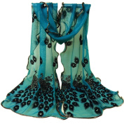 Datework Women Peacock Flower Embroidered Lace Scarf