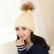 Warm Hat HP95(TM)Women Winter Crochet Wool Knit Beanie Ski Ball Cap Pom Pom Hat
