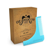 Beardeur Beard Styling & Shaping Template Comb Trim Tool -Beard Shaper Guide for Line Up & Edging -Use with a Beard Trimmer or Razor to Style Your Beard & Facial Hair -Premium Beard Care Kit for Men