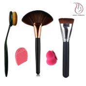 Start Makers ® Professional Large Fan Powder Brush ,Oval Toothbrush Curve Contour Brush , Flat contour Brush , Makeup Brush Cleaner Egg and a Mini Makeup Sponge