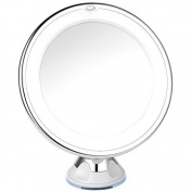 Charmax 10x Magnifying Lighted Makeup Mirror With Bag, Natural LED Light Bathroom Vanity Mirror, Cordless Travel Mirror, Chrome