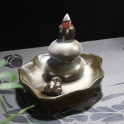 Eternal Loves Ceramic Aroma Backflow Incense Burner Tower Lotus