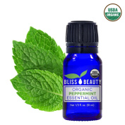 Peppermint Essential Oil, USDA Organic - 100% Pure, Natural Oils, Premium, Therapeutic Grade, Undiluted - Mentha Peperita - 30ml bottle, 1oz - Bliss Beauty