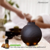 Large Aroma Globe Essential Oil Diffuser with Water 600ML , Aromatherapy Cool Mist Humidifier, Ultra Quiet Ultrasonic Nebulizer, Dark Wood Grain, Filter Free, Last Overnight