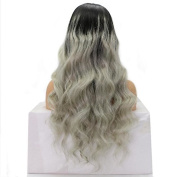 Ten Chopstics 9A Two Tone Brazilian Virgin Hair Lace Front Wig Ombre Remy Human Hair Wigs 1BtGrey For African Americans Black Women130% Density Baby Hair Bleached Knots
