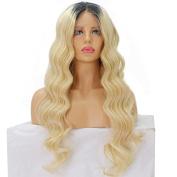 Ten Chopstics Blonde Two Tone Ombre Colour 1bT613 Lace Front Wig Brazilian Virgin Unprocessed Human Hair Wigs for Black Women Bleached Knots18inch-60cm 130% Density