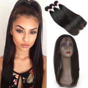 3 Bundles Brazilian Straight Hair with 360 Lace Frontal 7A Unprocessed Brazilian Virgin Hair