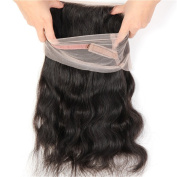360 Lace Frontal 22.5x 4x 2 Brazilian Virgin Hair Closure with Elastic Band - Natural Black Body Wave 25cm - 50cm by Halo Lady