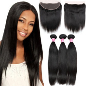 Belinda Hair Frontal Lace Closure with Bundles Brazilian Straight Hair 3 Bundles with Frontal Closure 7A Unprocessed Virgin Human Hair Bundles with Frontal Closure