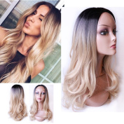 Long Curly Ombre 1b/Blonde Mixed Colour Fashion Wig