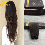 Ugea 60cm 7pcs Remy Hair Extensions Clip in Ombre Black mixed Brown Human Hair Extensions Clip on Balayage Hair Extensions 120g Human Hair Extensions Clip Ins Full Head Set