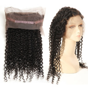 GEFINE Hair 360 Full Lace Frontal Closure Free Part Swiss Lace Closure Brazilian Virgin Hair Curly Weave Human Hair Closure Natural Colour 46cm