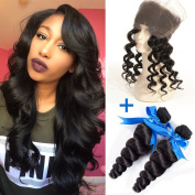 GEFINE Hair 8A Malaysian Hair Loose Deep Wave Ear To Ear 360 Lace Frontal Closure With Bundles Full Frontal Lace Band Closure With Human Hair Weaves 18 18+46cm