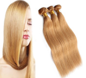 3 X 100g/bundle 36cm ,36cm ,36cm Brazilian Human Hair Weaves #27 Strawberry Blonde Hair Extension Silky Straight Highlight Pure Colour Strong Double Weft