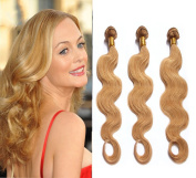 3 X 100g/bundle 50cm ,50cm ,50cm Brazilian Human Hair Weaves #27 Strawberry Blonde Hair Extension Silky Body Wave Highlight Pure Colour Strong Double Weft
