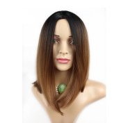 Lace Front Synthetic Hair Wig Short BoBo Straight Hair Ombre Brown 2Tones