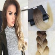 HairDancing 41cm Tape in Hair Extensions Ombre Blonde Balayage Tape in Extensions Human Hair Remy Extensions Ombre Hair Dye Colour #3/8 Light Brown to #613 Bleach Blonde 100g 40Pcs Per Package
