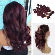 Tony Beauty Hair Wine Red #99J Human Hair Bundles With 360 Lace Band Frontal 22.5x 4x 2 Pure Colour Body Wave Full Lace Frontal With Hair Extensions 4Pcs/Lot
