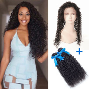 GEFINE Hair 360 Lace Frontal Closure With 2 Bundles Pre Plucked Lace Frontal Weave Brazilian Virgin Hair Curly Weave Human Hair Closure Natural Colour 16 18+36cm