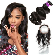 FASHION QUEEN 13×4×2 360 Lace Frontal Band with Bundles 362 Frontal with Baby Hair Brazilian Body Wave Virgin Hair Natural Colour Human Hair Extensions