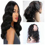 Derun Hair 8A grade Best Quality 100% Virgin Brazilian Human Hair 360 lace Frontal closure body wave 22x 4x 2 46cm 360 degree natural colour free part lace frontal