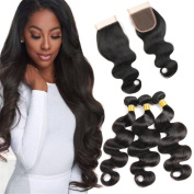 HANNE Brazilian Virgin Hair Body Wave With Closure Cheap 3 Bundles Human Hair With Closure 7A Brazilian Virgin Hair With Closure Free Part
