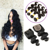Alimice Brazilian Body Wave Human Hair 4 Bundles with Closure 100% 6a Unprocessed Brazilian Virgin Hair Body Wave with Closure Soft Human Hair Extensions