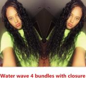 Guangxun Company 4 Bundles Brazilian Virgin Water Weave with 44 Lace Closure Grade 6A 100% Unprocessed Virgin Human Hair Extensions Natural Colour