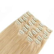 Full Head Straight Clip in Human Hair Extensions Hair Weft 120g 10pcs/Set Bleach Blonde #613