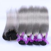 Carina Hair 1B Grey Ombre Human Hair 4 Bundles With Lace Closure Mixed Length Dark Roots