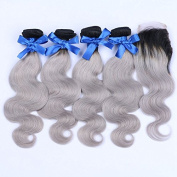 Carina Hair 1B Grey Ombre Human Hair 4 Bundles With Lace Closure Body Wave Mixed Length Dark Roots