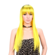 Aoert Long Straight Wig With Bangs Heat Resistant Synthetic Yellow Wigs for Women 70cm