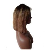 VK 25cm Short Bob Full Lace Human Hair Wig 130% Density Peruvian Virgin Remy Hair Ombre 1b/27#