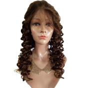 VK Dark Brown 2# Human Hair Lace Front Wig Curly Brazilian Virgin Remy Hair 150% Hair Density 46cm