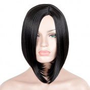 SiYi Women's Kylie Style Short Bob Hair middle parting Black Straight Wigs