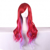 Rise World Wig Womens Long Wavy Wigs Oblique Bangs Two Tones Red Mixed Pink