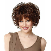 Rise Wold Wig Womens Short Curly Bob Wigs Flat Bangs Brown Cosplay Daily Use