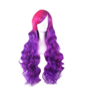 Rise World Wig Women Long Wavy Cosplay Wigs Two Tones Gradient Pink Mixed Purple