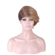 Rise World Wig Womens Short Wigs Ombre Oblique Bangs Two Tone Brown Mixed Flaxen