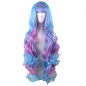 Rise World Wig Womens Long Wavy Flat Bang Synthetic Wig Cosplay Blue Mixed Pink