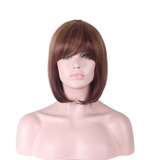 Rise World Wig Womens 36cm Straight Flapper Bob Wigs Bangs Ombre Two Tone Brown