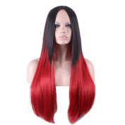 Rise World Wig Womens 80cm Long Straight Black Root to Red Two Tone Ombre Wigs