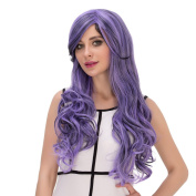 Probeauty Long Curly Ombre Party Hair Wig, Side Bangs Halloween Plus Wig Cap, Purple, 70cm