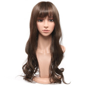 Secretgirl Long Wavy Brown Wig With Fringe Women Synthetic Full Head Cosplay Party Wigs
