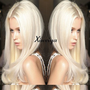 Xiweiya Long Blonde Glueless Lace Front Wigs For Women Middle Part Natural Straight Heat Resistant Synthetic Hair Replacement wig