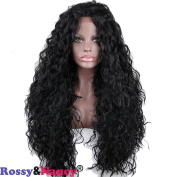 Rossy & Nancy Water Wave Synthetic Wigs Lace Front Long and Thick Cheap Long Hair Wig Natural Black 60cm