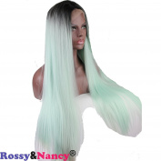 Rossy & Nancy 1B Silver Grey 2 Tone Ombre Colour Lace Front Synthetic Wigs for Women Silk Straight 41cm