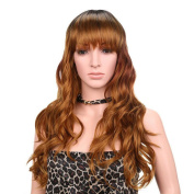 Aoert Long Curly Wigs with Bang Glueless Heat Resistant Synthetic Wigs for Women