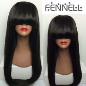 Fennell 100% Brazilian Full Lace Human Hair Silky Straight Wigs /Lace Front Wig With Bangs 150% Density For Woman