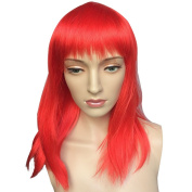Namecute Red Wig Long Cosplay Wigs for Women Heat Resistant Synthetic Fibre with Full Bangs + Free Wig Cap for Women
